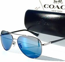 NEW* COACH 58mm Aviator L813 GUNMETAL Black w Blue mirrored Lens Sunglass HC7062