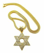 "MENS ICED OUT HIP HOP GOLD STAR OF DAVID PENDANT 4MM 36"" FRANCO CHAIN NECKLACE"