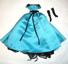 Silkstone Barbie Fashion Turquoise Satin Gown Gown For Barbie Dolls ske001