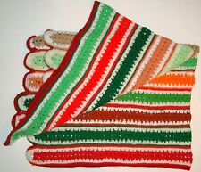 Vtg Crochet Mile A Minute Afghan Christmas Colors Blanket Red Green Throw Lap