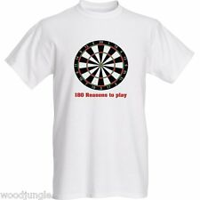 DARTS SHIRT 180 REASONS TO PLAY T-SHIRT SHIRT BULLSEYE TRIPLE DARTBOARD DOUBLE