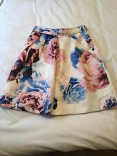 Coast Size 8 Skirt In A White/blue/pink Floral Print