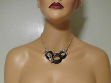 Alexis Bittar Black Lucite & Crystal Lace Bib Necklace.*********NEW********