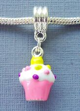 Pendant Pink CUPCAKE. Large hole Fit for European Charm Bracelet and Necklace C4