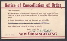 1932 POSTAL CARD W.W. GRANGER FAMOUS  CO,  CANCELLATION OF ORDER, CLEVELAND OH