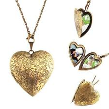 Woman Man Bronze Heart Friend Photo Picture Frame Locket Pendant Chain Necklace