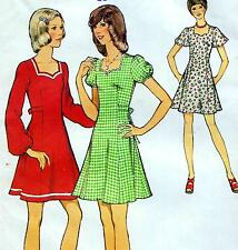 "Vintage 70s DRESS Sewing Pattern Bust 32"" Size 8 EVENING Party SWEETHEART NECK"