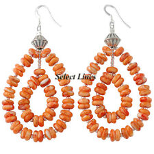 Sterling Silver Orange Spiny Oyster Shell Earrings Navajo Native American