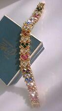 VINTAGE gioielli splendidi Multi Colore Strass Bracciale Link Pannello