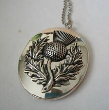 Sterling Silver pltd THISTLE Vtg Unused LOCKET Necklace CELTIC SCOTLAND SCOTTISH