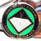 Alcoholics Anonymous AA NA Tri Plate Green Gold 5 Year Recovery Medallion Coin