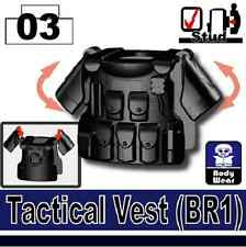 Black BR1 (W26) Tactical Army Vest compatible with toy brick minifigures SWAT