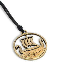 Viking Norway Boat Ship Handmade Brass Necklace Pendant Jewelry