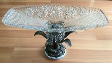 OLD VTG CRYSTAL GLASS BRASS FLORAL PATTERN HANGING PRISM BEAD TABLE CENTER PIECE