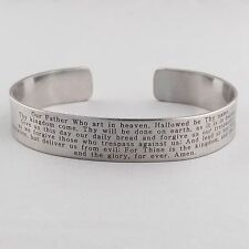 The Lord's Prayer Cuff Bracelet - Engraved Stainless Steel - Bible Verse NEW