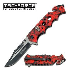 "8.25"" RED SKULLS SPRING ASSISTED FOLDING KNIFE Pocket Blade Assist Open Switch"