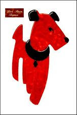 FRENCH SIGNED LEA STEIN PARIS RIC AIREDALE TERRIER DOG PIN BROOCH -RED BLACK