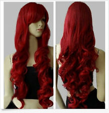 Hot Fashion Women's Wig Long Curly Anime Cosplay Wigs Wine Red Wig+Cap