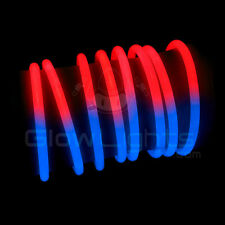 "(200) 8"" GLOW STICKS BRACELETS - RED / BLUE BI COLOR - USA JULY GLO LITE PARTY"