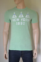 NEW Abercrombie & Fitch Flagstaff Mountain Green Vintage Indian Tee T-Shirt M
