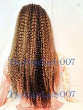 "22"" KINKY CURLY / WAVY, #1b /#30/#24 Two tone, FULL LACE Wig,100% Human Hair"