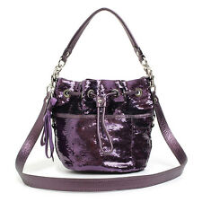 AUTH COACH POPPY CINCH SEQUIN HANDBAG CROSSBODY PURSE 17906 PURPLE $378 - RARE
