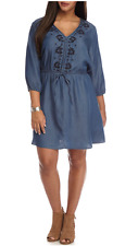 PRETTY FREE 2 LUV WOMEN'S BLUE 3/4 SLEEVE EMBROIDERED CHAMBRAY DRESS PLUS Sz 2X
