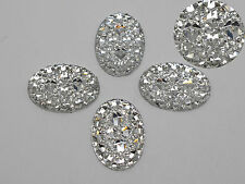 50 Clear Glitter Flatback Resin Oval Cabochon Pyramid Dotted Rhinestone 18X25mm