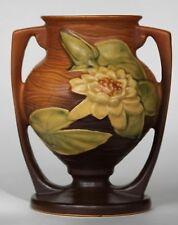 """ROSEVILLE POTTERY WATER LILY BROWN VASE USA 174.6"""""""