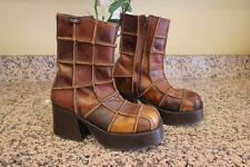 DESTROY Women's 70's Style Brown Patched Thick Heel Boots Size 40 (BOT1400