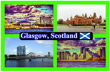 GLASGOW, SCOTLAND - SOUVENIR NOVELTY FRIDGE MAGNET - FLAGS / SIGHTS - NEW - GIFT