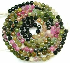 "ALL NATURAL MULTI TOURMALINE SMOOTH ROUND BEADS 14.5"" 5mm  T18"