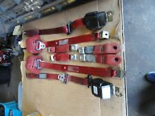 90-93 Ford Mustang Convertible Full Seat Belt Set Seat Belts 8 pieces - RED