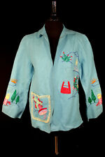 VINTAGE 1950'S TURQUOISE WOOL FELT EMBROIDERED MEXICAN JACKET SIZE 38 MEDIUM