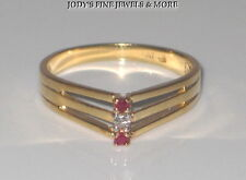 EXTRAORDINARY ESTATE 14K YELLOW GOLD RED RUBY & DIAMOND LADIES RING BAND SZ 6.25