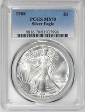 1988 ASE AMERICAN SILVER EAGLE DOLLAR PCGS MS70 RARE, PERFECT COIN!