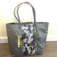 NWT Gianni Bini Large Tote Valery Stud Slate Camo Nylon & Faux Leather Key Fob
