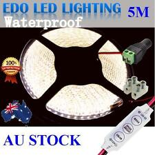 Waterproof 5M 2835 600 Natural White DC 12V SMD LED Led Strip Lights +dimmer