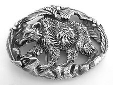 Hunting Grizzly Bear Solid Pewter Vintage Belt Buckle
