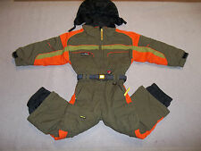 OBERMEYER SKI SNOW SUIT CARVE NSULATED JACKET PANTS I GROW HOOD OLIVE BOY'S 4 5