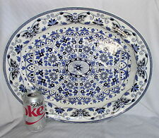 Antique Booths Indian Ornament Blue&White Well&Tree Huge Meat Serving Platter