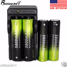 4PC Rechargeable 5800mAh Li-ion 18650 3.7V Battery+Dual Smart Battery Charger US