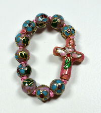 Small Rosary Ring Chinese Cloisonne Purple Pink Blue Accents Cloisonne Rosary