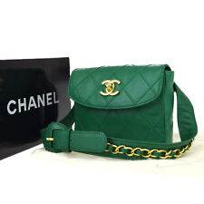 Authentic CHANEL CC Logos Quilted Belt Bum Bag Leather Green 65/26 Italy 79L174