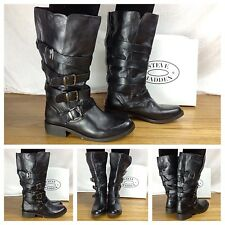 Steve Madden NEW Sexy Belman Black Fashion Tall Buckle Biker Combat Boots 6.5
