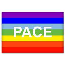 "Rainbow Peace PACE Flag sign symbol car sticker 5"" x 4"""