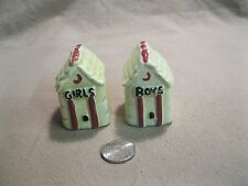 Vintage Light Green Boys Girls Outhouse Salt and Pepper Shakers             14