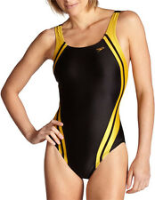 Speedo Quantum Spliced Racing Lycra Swim Suit Wear Adult Women Black/Gold SZ-34