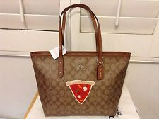 NWT. Coach Signature Limited Edition Pizza City Zip Tote Bag F57614