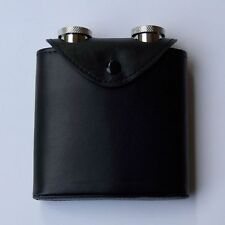 Flachmann Duo, 2 Hip flasks in a Leather bag with Belt fastening